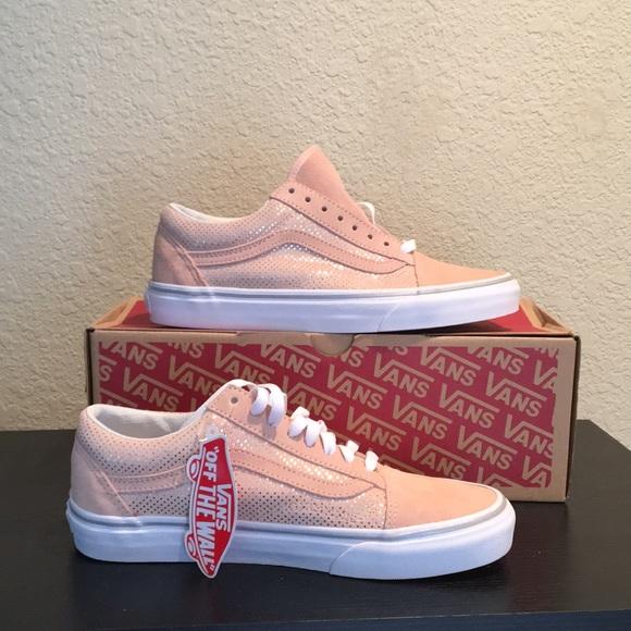 9b586be583 Vans pink metallic silver dot shoes 9 Suede